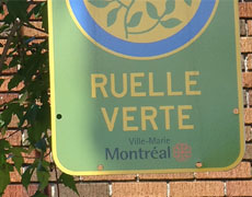 Panneau extérieur sur lequel il est écrit Ruelle verte